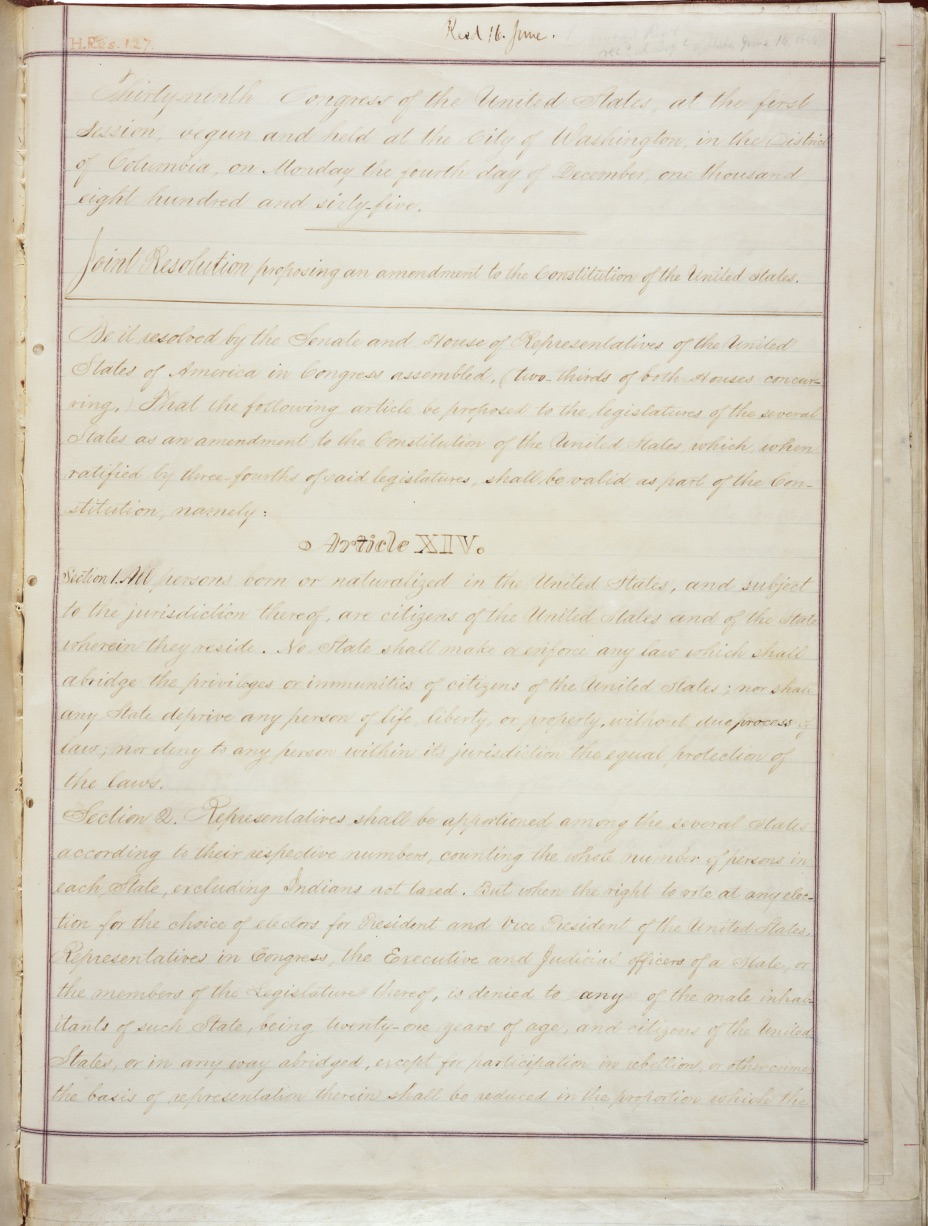 The 14th Amendment first page