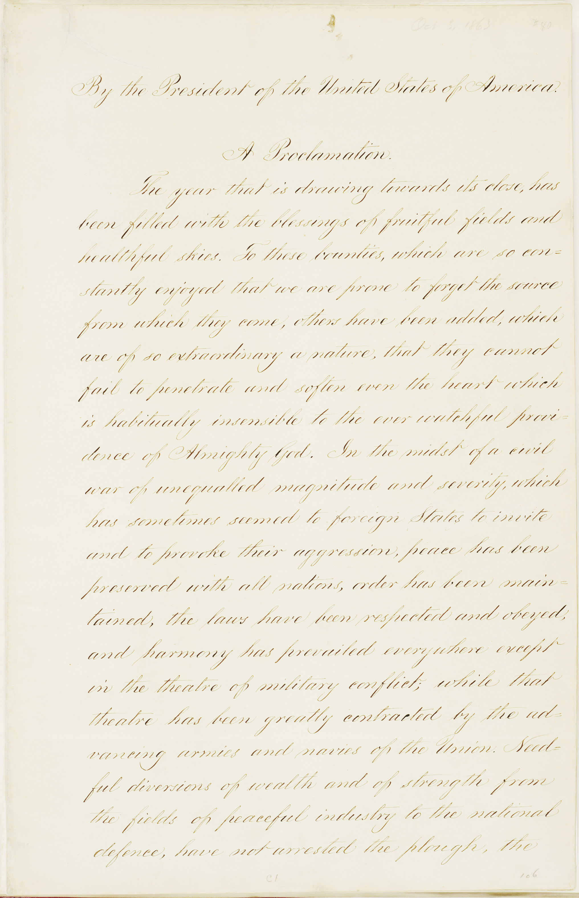 Proclamation of Thanksgiving - Abraham Lincoln