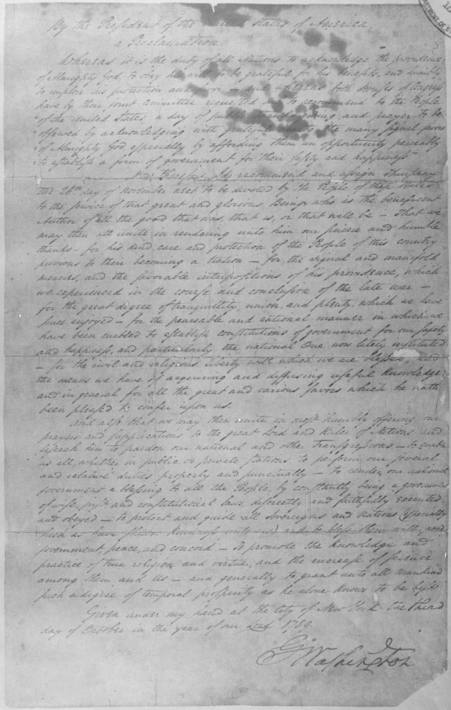 George Washington Thanksgiving Proclamation