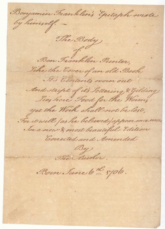 Benjamin Franklin Epitaph