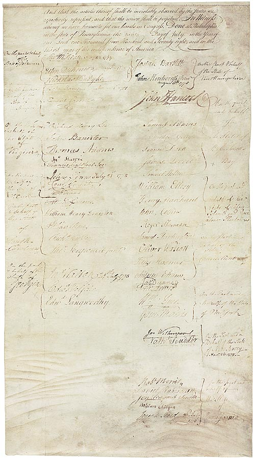 Articles of Confederation signature page
