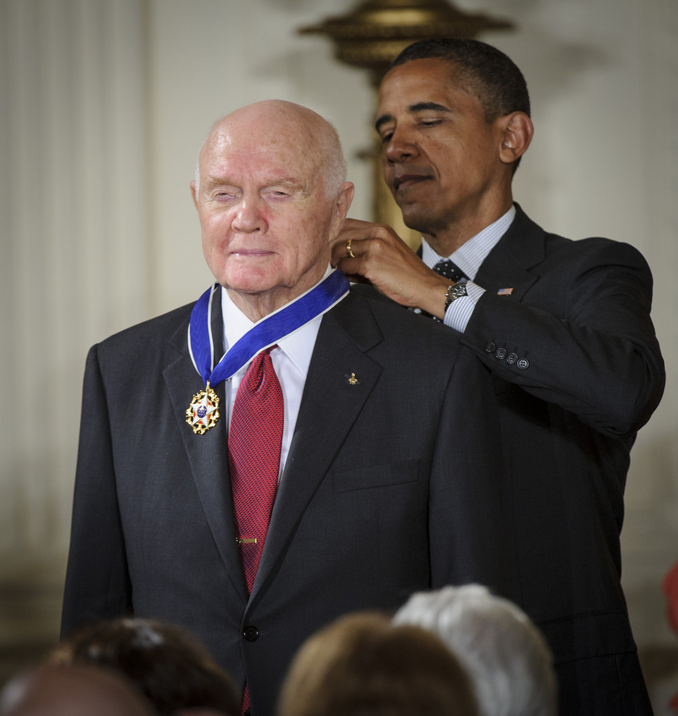 President Barack Obama presents former United States Marine Corps pilot, astronaut, and United States Senator John Glenn with a Medal of Freedom, Tuesday, May 29, 2012, during a ceremony at the White House in Washington. Photo Credit: (NASA/Bill Ingalls)