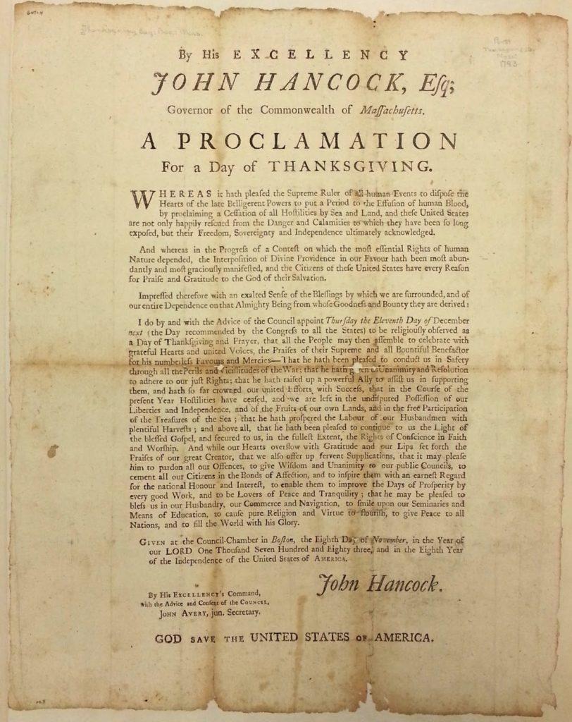 John Hancock Thanksgiving Proclamation