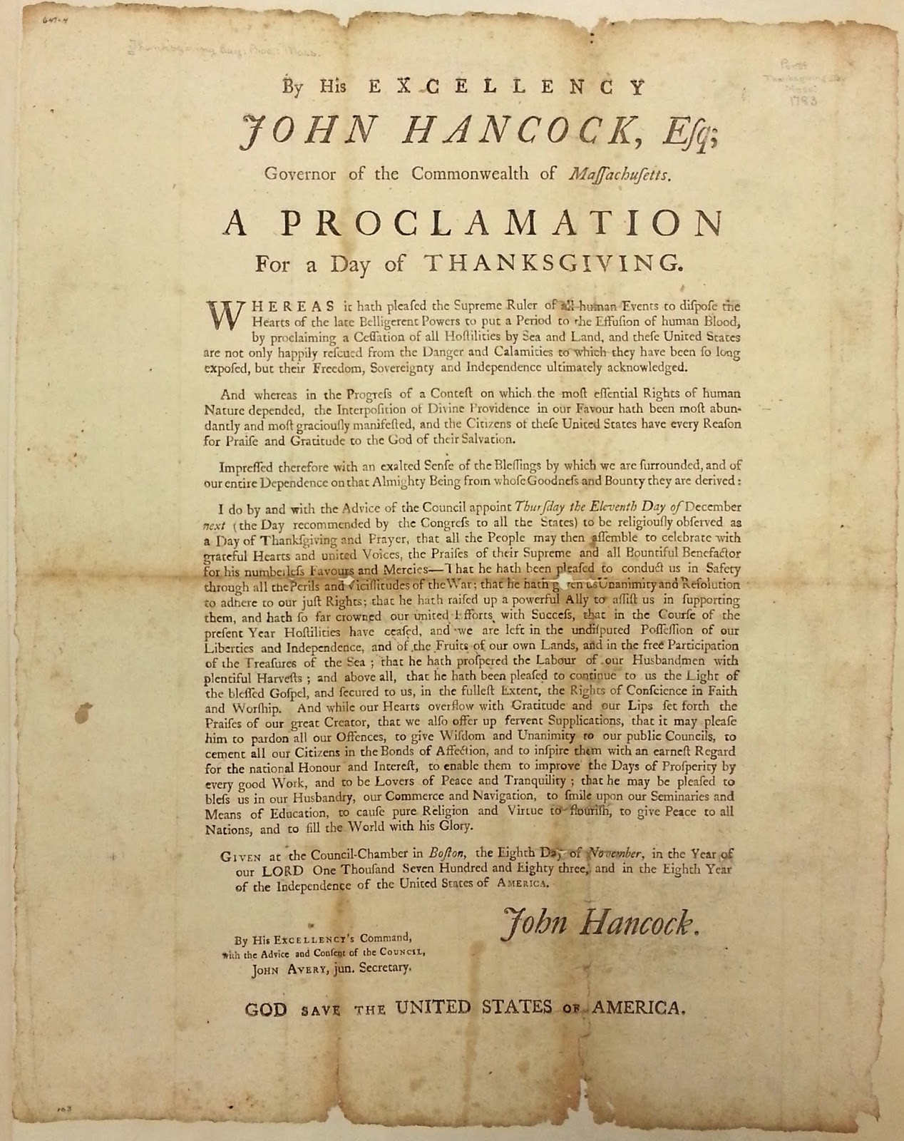 John Hancock Proclamation