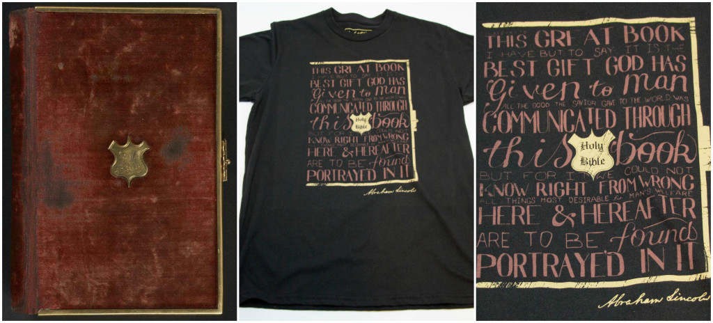 Abraham Lincoln Bible t-shirt collage