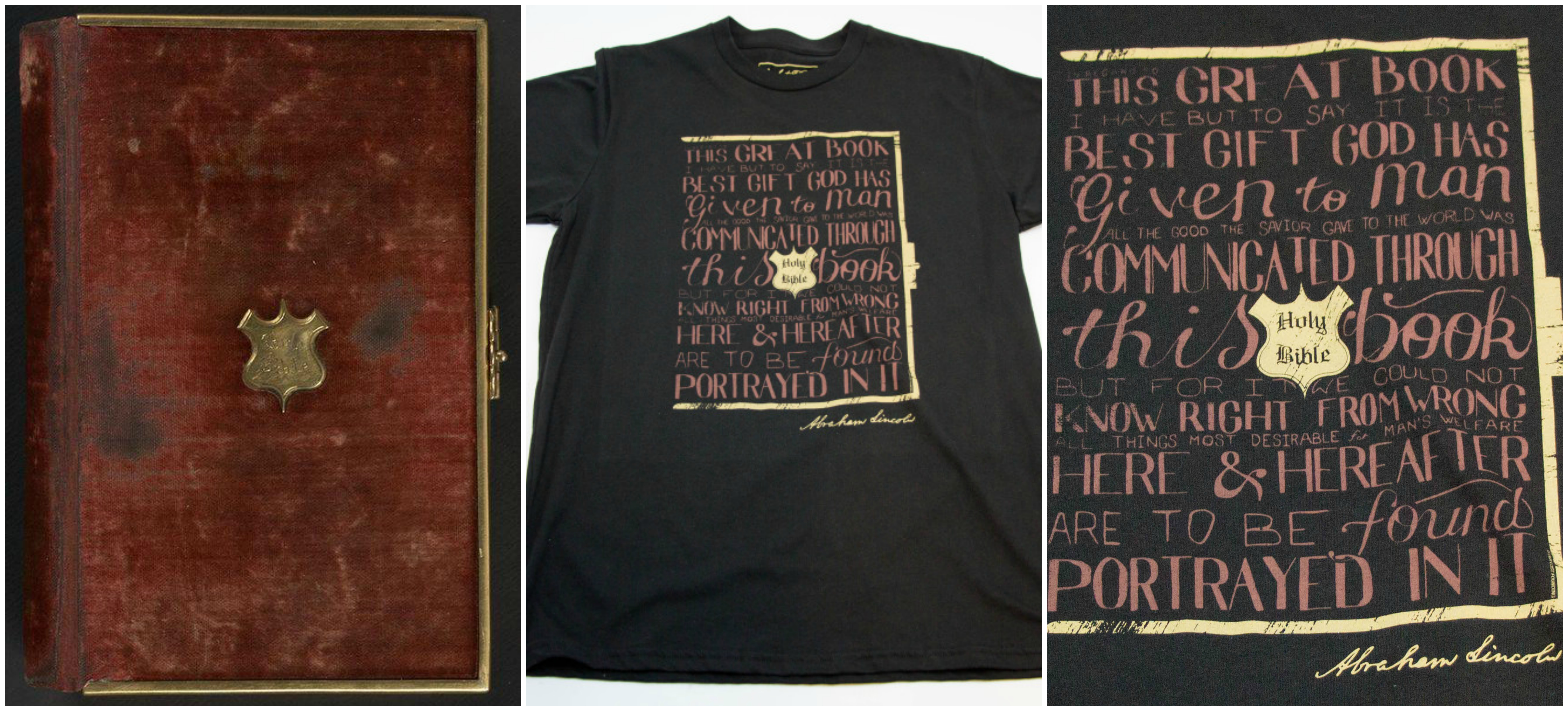 Lincoln Bible t-shirt collage