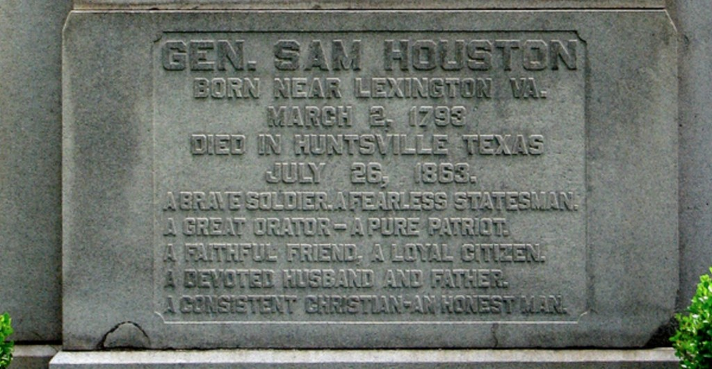 Sam Houston tomb inscription